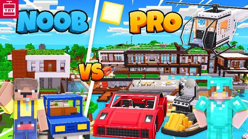 Modern Mansion Noob vs Pro on the Minecraft Marketplace by TNTgames