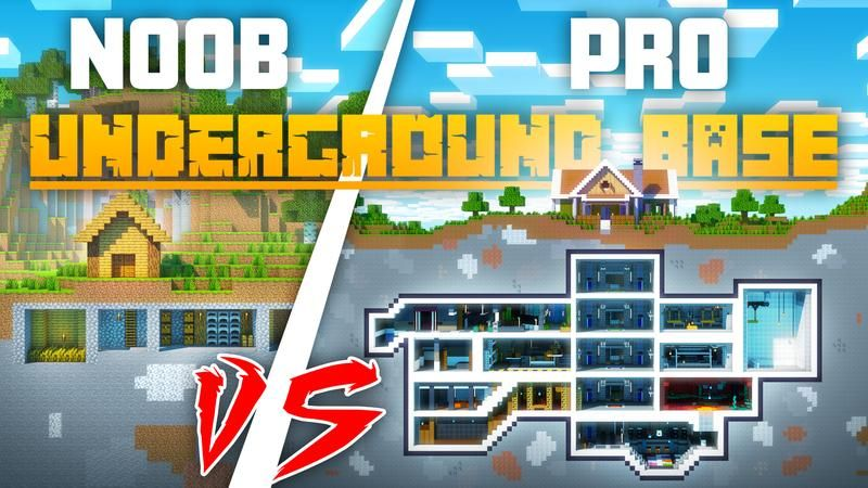 Noob vs Pro Underground Base on the Minecraft Marketplace by Cubed Creations