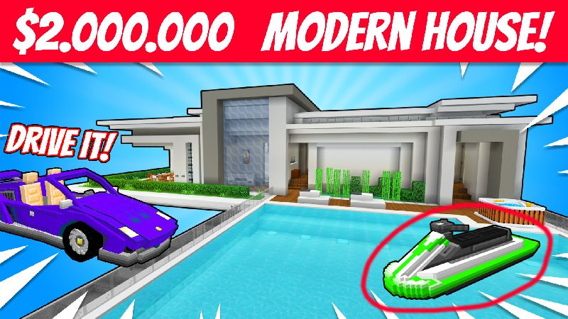 Modern House 3 on the Minecraft Marketplace by VoxelBlocks