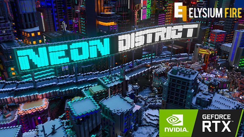 Neon District RTX on the Minecraft Marketplace by Nvidia
