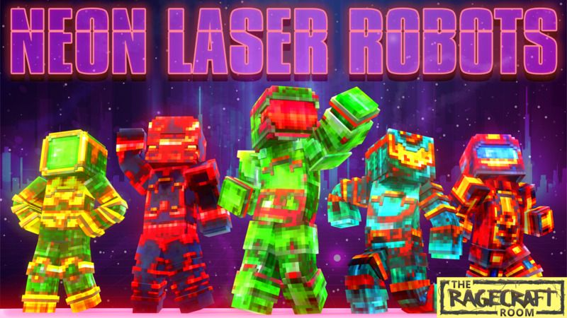 Neon Laser Robots on the Minecraft Marketplace by The Rage Craft Room