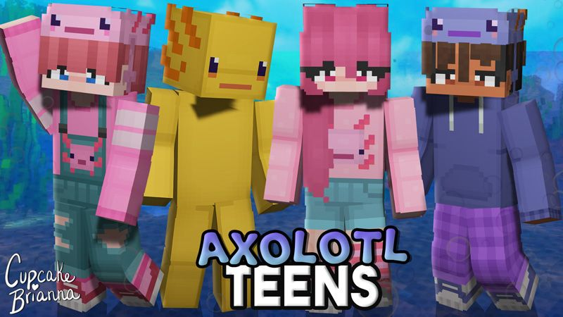 Axolotl Teens HD Skin Pack on the Minecraft Marketplace by CupcakeBrianna