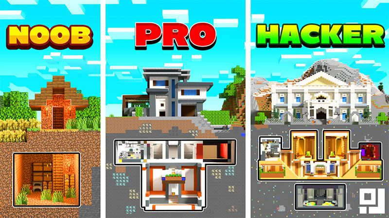 Noob VS Pro VS Hacker Bunkers on the Minecraft Marketplace by inPixel